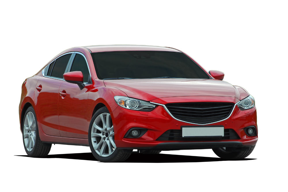 red metallic sedan car